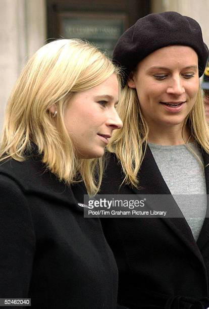 Lady Davina Lewis and her sister Lady Rose Windsor attend a memorial service for their grandmother HRH Princess Alice at St Clement Danes February 2...