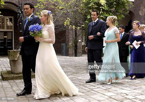 Lady Davina Windsor Walks Arm In Arm With Her New Husband Gary Lewis After Their Wedding In The Chapel At Kensington Palace The 26year Old Who Is...