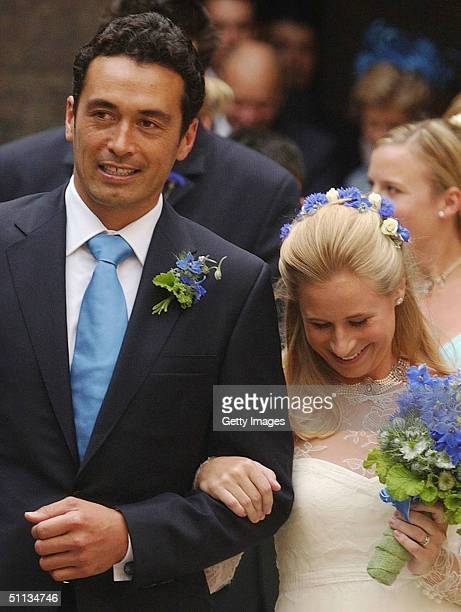 Lady Davina Windsor walks arm in arm with her newly wed husband Gary Lewis outside the chapel at Kensington Palace on July 31 2004 in London Lady...