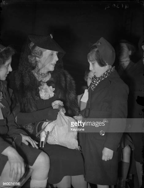 Lady Diana Cooper meets young refugees from Danzig at Liverpool Street Station in London 5th May 1939
