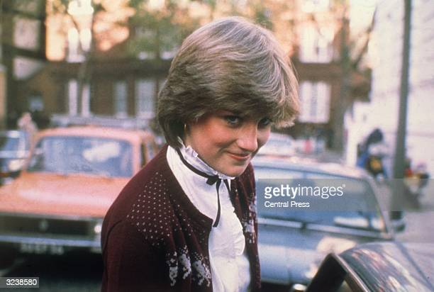 Lady Diana Spencer fiancee of Prince Charles leaving her home in West London