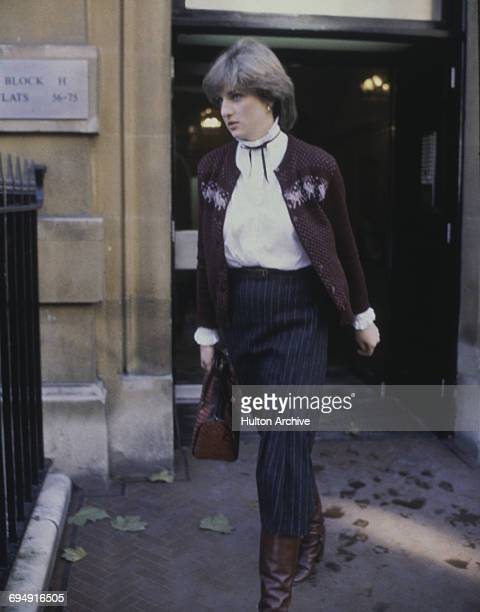 Lady Diana Spencer (1961 - 1997, fiancee to the Prince of Wales, leaving her flat at Coleherne Court in Earl's Court, London, 12th November 1980.