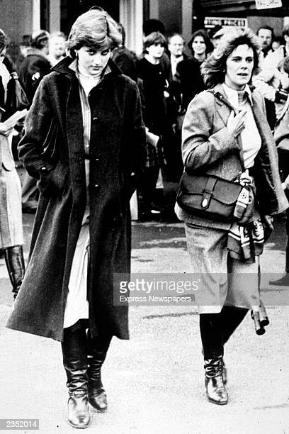 Lady Diana Spencer and Camilla ParkerBowles at Ludlow Races where Prince Charles is competing 1980
