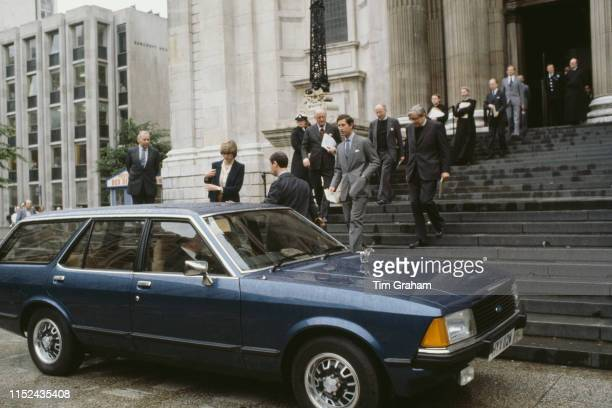 Lady Diana Spencer and her fiancé Prince Charles leaving St Paul's Cathedral and making their way to the prince's Ford Granada after their first...
