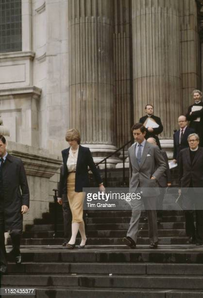 Lady Diana Spencer and her fiancé Prince Charles leaving St Paul's Cathedral after their first wedding rehearsal 12th June 1981