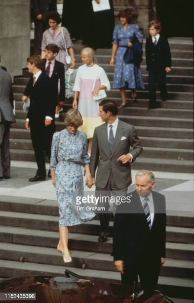 Lady Diana Spencer and her fiancé Prince Charles leaving St Paul's Cathedral after the final rehearsal before their wedding London 27th July 1981