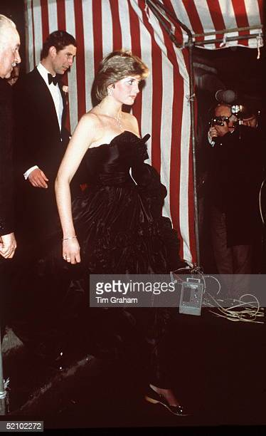 Lady Diana Spencer And Prince Charles At Goldsmiths Hall In London In March 1981 On Their First Evening Outing In Public. Black Taffeta Evening Dress...