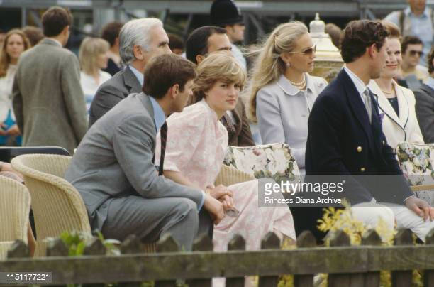 Lady Diana Spencer and Prince Charles attend the Cartier International polo match on Smith's Lawn Windsor days before their wedding July 1981 On the...