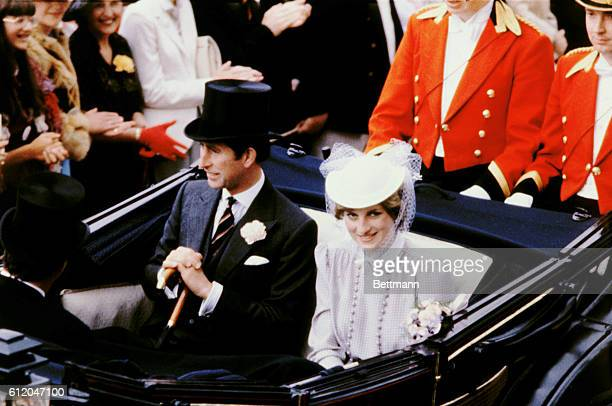 Lady Diana Spencer and Prince Charles Prince of Wales arrive at the races at Royal Ascot in an open carriage in the summer of 1981