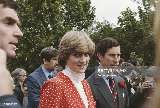 Lady Diana Spencer and Prince Charles visit the town of Tetbury in Gloucestershire shortly after their engagement 22nd May 1981 Diana is wearing a...