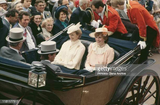 Lady Diana Spencer and Princess Alexandra of Kent attend the races at Ascot, England, June 1981. This is Diana's first Ascot meeting with the royal...