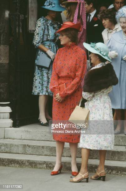 Lady Diana Spencer and Princess Margaret attend the wedding of Nicholas Soames and Catherine Weatherall at St Margaret's Church in London 4th June...