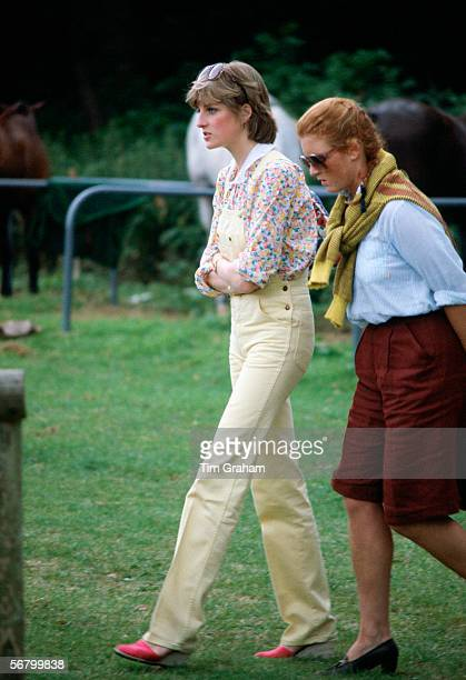 Lady Diana Spencer and Sarah Ferguson talking together at a polo matchin the 1980s before either married a royal prince