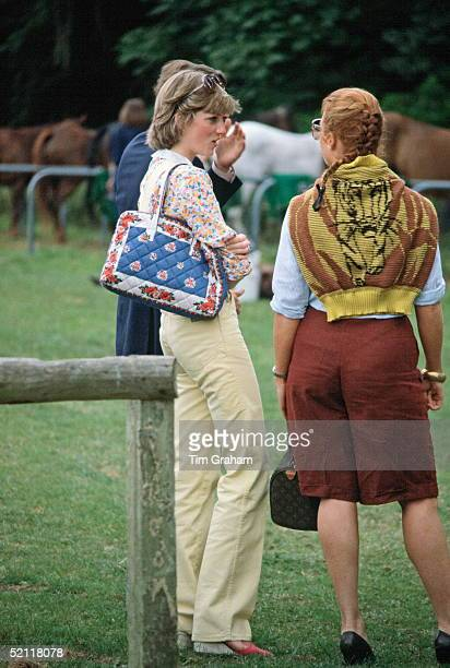 Lady Diana Spencer And Sarah Ferguson Talking Together At Cowdray Park Polo Club In Gloucestershire