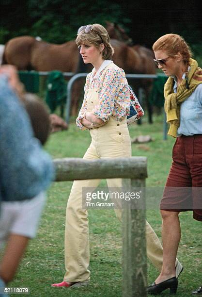 Lady Diana Spencer And Sarah Ferguson Walking Together At Cowdray Park Polo Club In Gloucestershire
