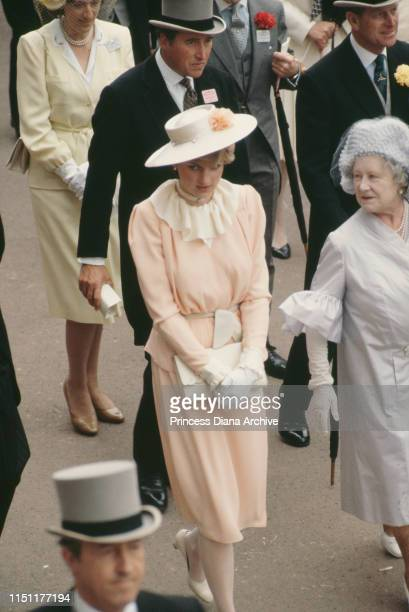 Lady Diana Spencer and the Queen Mother attend the races at Ascot England June 1981 This is Diana's first Ascot meeting with the royal family Behind...