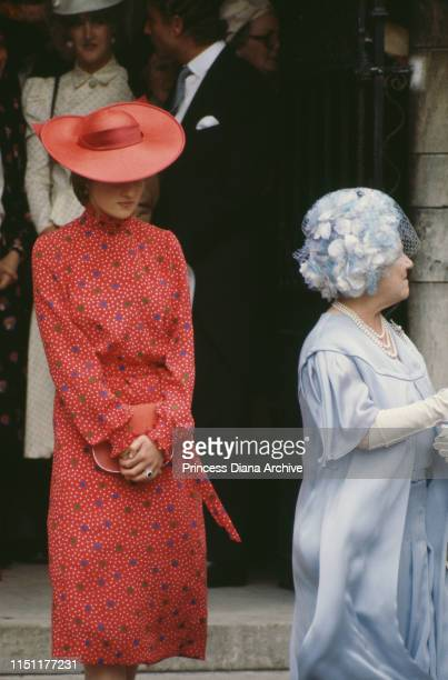 Lady Diana Spencer and the Queen Mother attend the wedding of Nicholas Soames and Catherine Weatherall at St Margaret's Church in London 4th June...