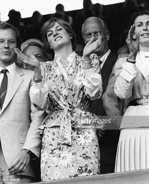 Lady Diana Spencer applauding in the Royal Box as she watches the action on Centre Court at Wimbledon Tennis Championships London July 1981