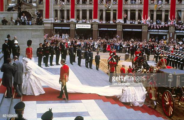 Lady Diana Spencer Arriving With Her Father Earl Spencer At St Paul's Cathedral For Her Wedding To Prince Charles Lady Diana Is Making Her Way Up The...