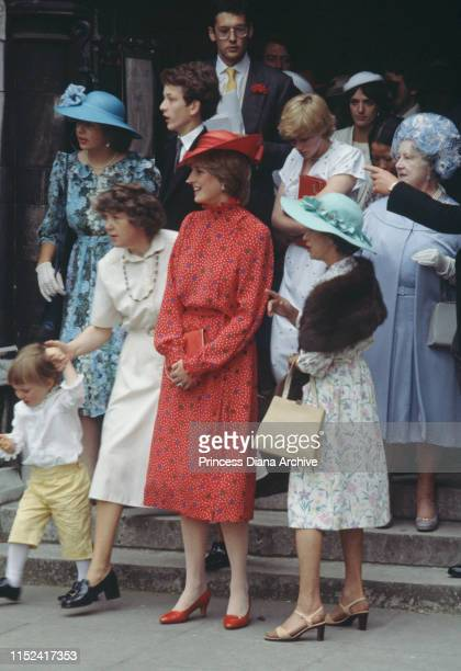Lady Diana Spencer at the wedding of Nicholas Soames and Catherine Weatherall at St Margaret's Church in London 4th June 1981 With her are Princess...