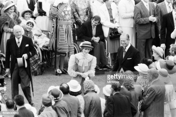 Lady Diana Spencer attends her first ever Garden Party at Buckingham Palace In this picture Lady Diana also talks to guests about her engagement ring...