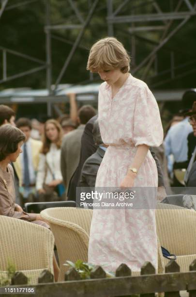 Lady Diana Spencer attends the Cartier International polo match on Smith's Lawn Windsor days before her wedding to Prince Charles 26th July 1981