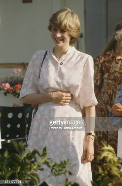 Lady Diana Spencer attends the Cartier International polo match on Smith's Lawn Windsor days before her wedding to Prince Charles July 1981