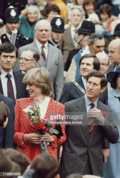 Lady Diana Spencer during her first 'walkabout' with fiance Prince Charles in Tetbury Gloucestshire UK 22nd May 1981 She is wearing a suit by Jasper...