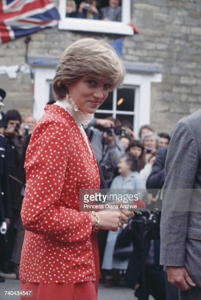 Lady Diana Spencer during her first 'walkabout' with fiance Prince Charles in Tetbury Gloucestshire 22nd May 1981 She is wearing a suit by Jasper...