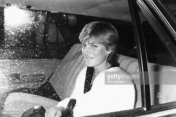Lady Diana Spencer fiance of Prince Charles in the back of a car leaving her flat in London February 1981