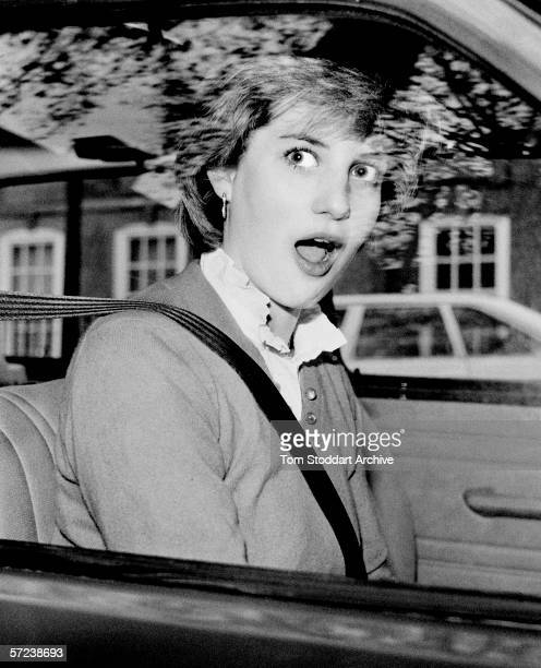 Lady Diana Spencer is startled after stalling her new red Mini Metro outside her Earls Court flat in London just days before her engagement to Prince...