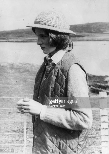 Lady Diana Spencer later the wife of Prince Charles on the Isle of Uist in the Western Isles of Scotland