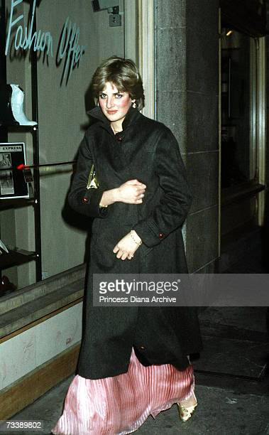 Lady Diana Spencer leaves the Ritz Hotel in London after attending Princess Margaret's 50th birthday party November 1980 This is one of the early...
