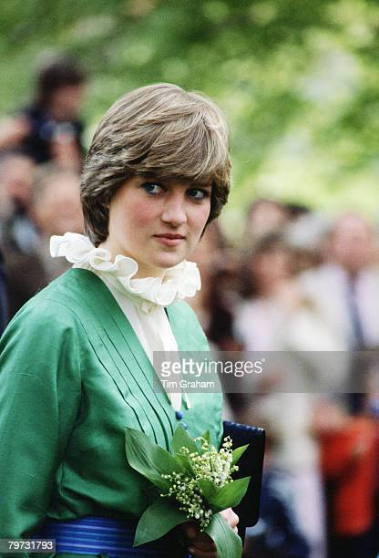 Lady Diana Spencer on a walkabout at Broadlands, the former home of Earl Mountbatten, during her engagement, The frilly collar, a distinctive pie...