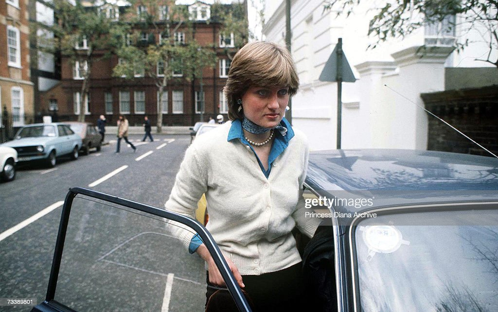 Lady Diana Spencer outside her flat in Coleherne Court, London, before her engagement to the Prince of Wales, December 1980.
