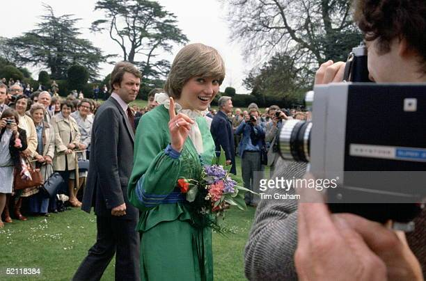 Lady Diana Spencer Pointing Her Finger At Photographers During A Visit To Broadlands The Former Home Of Earl Mountbatten. Behind Is Royal Police...