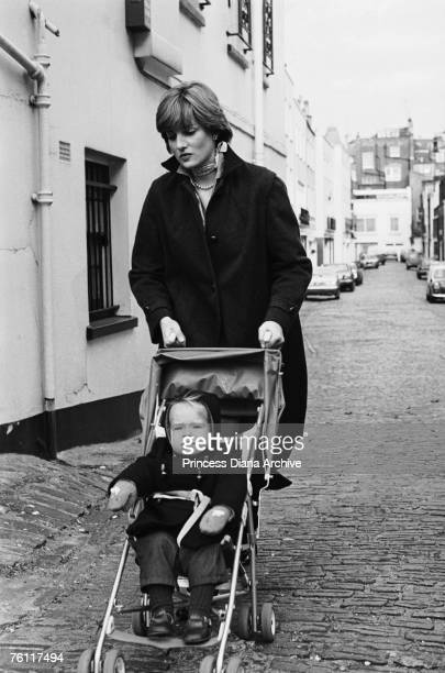 Lady Diana Spencer pushing a pram in Eton Square London 11th November 1980