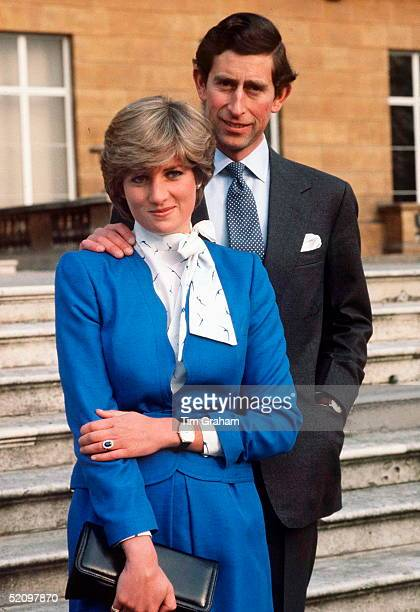 Lady Diana Spencer Reveals Her Sapphire And Diamond Engagement Ring While She And Prince Charles Pose For Photographs In The Grounds Of Buckingham...