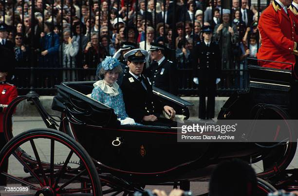 Lady Diana Spencer riding in a carriage with Prince Andrew at the Trooping of the Colour London June 1981