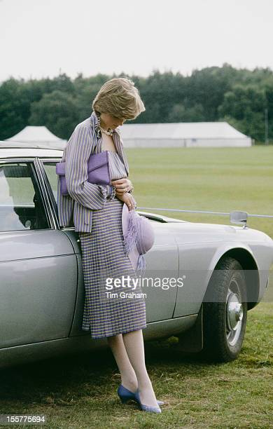 Lady Diana Spencer, soon to be Diana, Princess of Wales , looking pensive at a polo match in Windsor after the Ascot races, 16th June 1981.