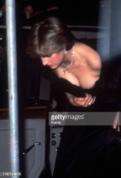 Lady Diana Spencer soon to be the Princess of Wales accompanies Prince Charles to Goldsmiths' Hall in London 9th March 1981 She is wearing a black...