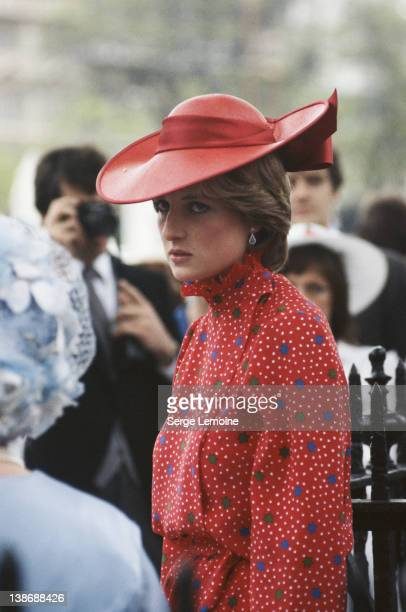 Lady Diana Spencer the future Diana Princess of Wales attends the wedding of Conservative politician Nicholas Soames and Catherine Weatherall at St...
