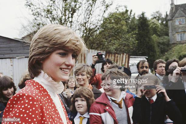 Lady Diana Spencer visits the town of Tetbury in Gloucestershire shortly after her engagement to Prince Charles 22nd May 1981 She is wearing a Jasper...