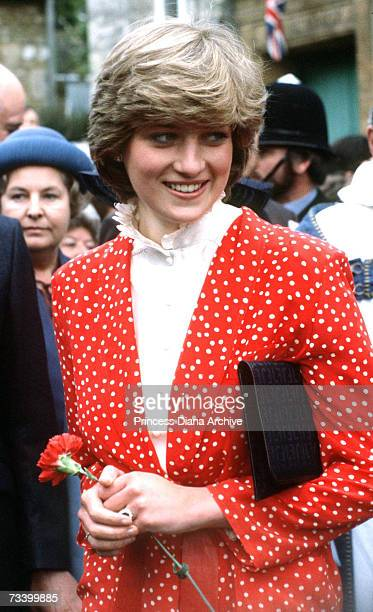 Lady Diana Spencer visits the town of Tetbury shortly after her engagement 22nd May 1981 She is wearing a Jasper Conran suit
