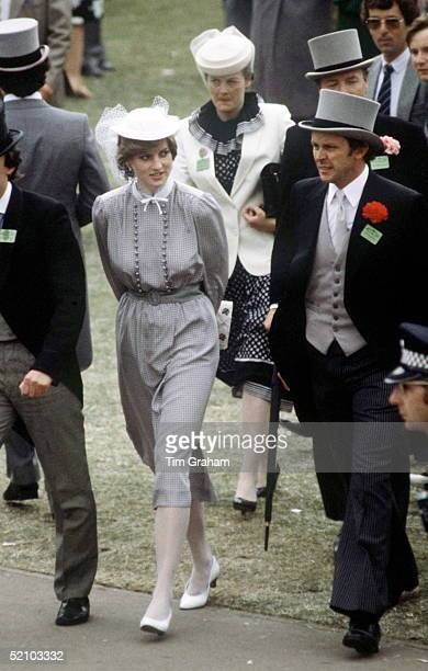 Lady Diana Spencer Walking Through The Crowds At Royal Ascot Berkshire She Is Accompanied By Bodyguard Graham Smith