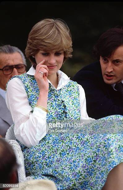 Lady Diana Spencer Before Becoming Princess Diana Sitting Watching A A Polo Match In Tidworth Her Friend Lord Romsey Is Talking To Her