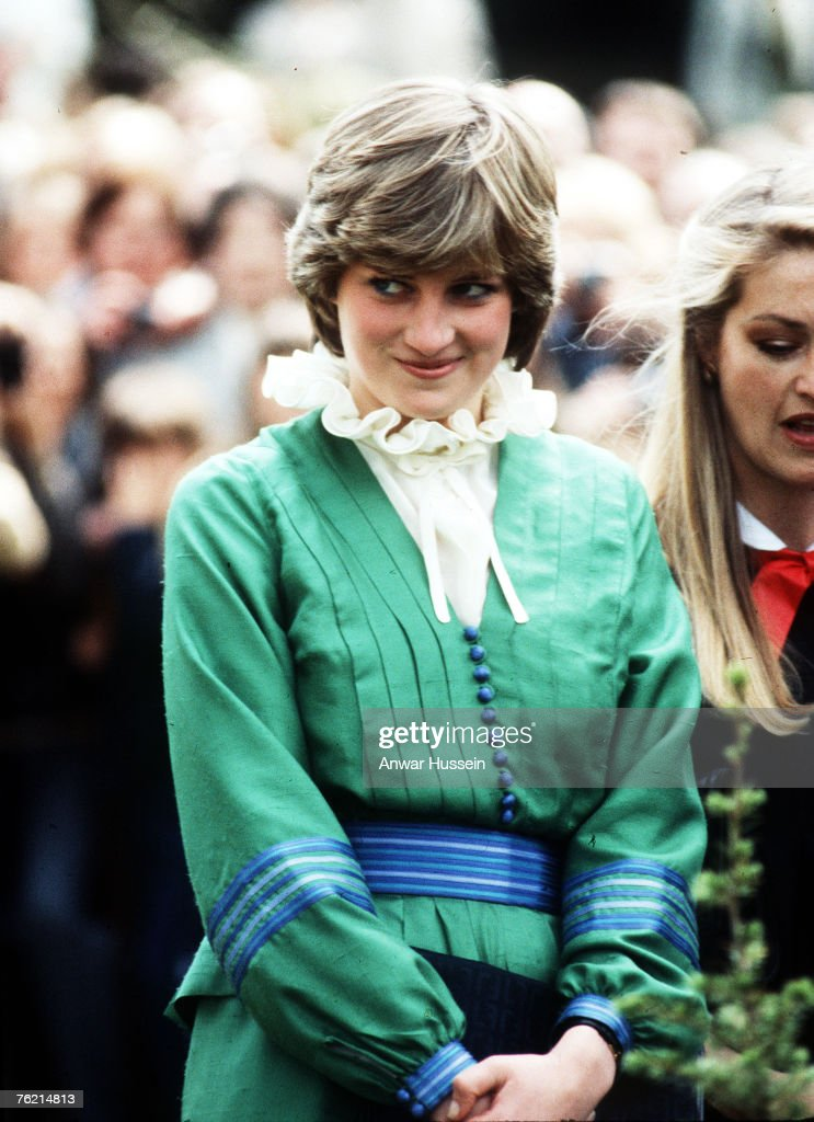 Lady Diana in Romsey, Hampshire in March 1981 before her marriage to Prince Charles, Prince of Wales. The piecrust frill became a Diana trademark.