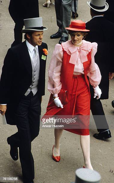 Princess Diana Princess of Wales wears Beleville Sassoon red and white outfit at ther first Royal Ascot in 1981