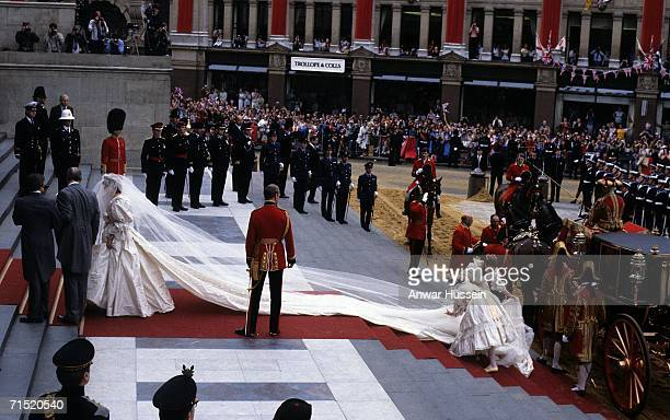 Lady Diana Spencer, wearing a wedding dress designed by David and Elizabeth Emanuel and the Spencer family Tiara, prepares to enter St. Paul's...