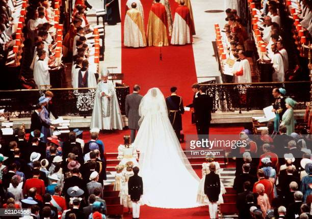 Lady Diana Spencer With Her Father Earl Spencer And Her Husband Prince Charles During Their Wedding Ceremony In St Paul's Cathedral London